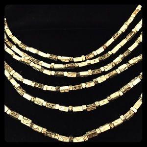 Chicos multi-strand silver bead necklace